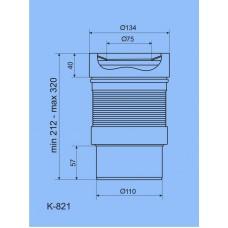 Гибкий слив для унитаза, Ани K821 с выпуском 110 мм
